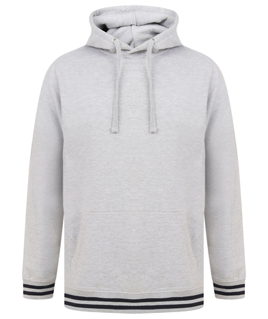 Hoodie With Striped Cuffs In Heather Grey/Navy