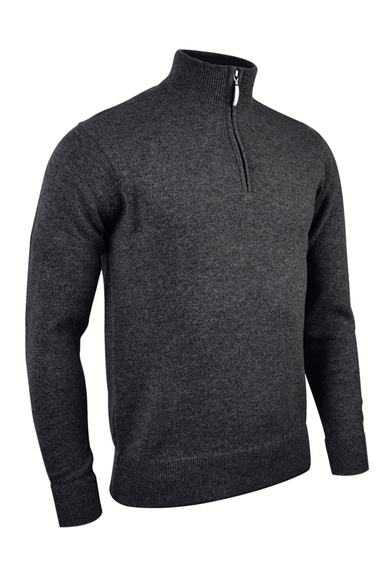 G.Coll Zip Neck Lambswool Sweater (MKL7282ZN-G.COLL) In Charcoal Marl