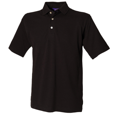 Classic Cotton Piqu Polo With Stand-up Collar In Black