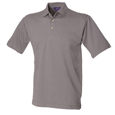 Classic Cotton Piqu Polo With Stand-up Collar In Slate Grey