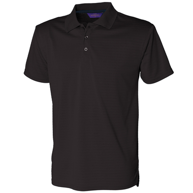 Cooltouch Textured Stripe Polo In Black