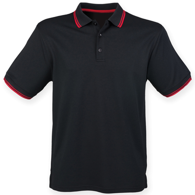 Double Tipped Coolplus Polo Shirt In Black/Red