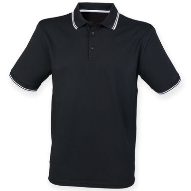 Double Tipped Coolplus Polo Shirt In Black/White
