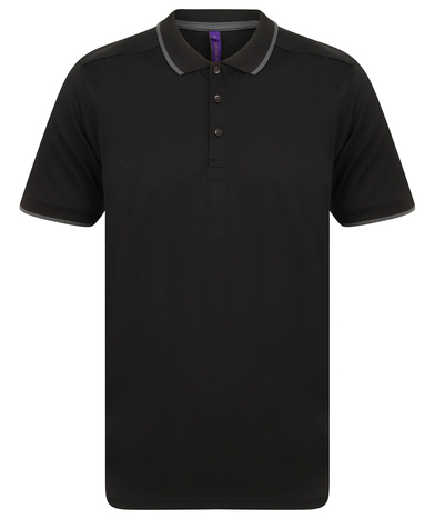 HiCool Tipped Polo Shirt In Black/Charcoal