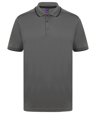 HiCool Tipped Polo Shirt In Charcoal/Black