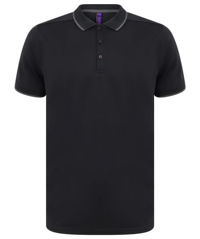 HiCool Tipped Polo Shirt In Navy/Charcoal