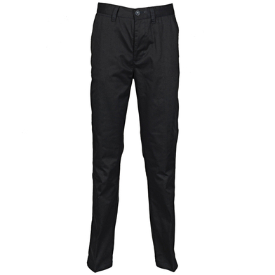 65/35 Flat Fronted Chino Trousers In Black