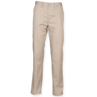 65/35 Flat Fronted Chino Trousers In Stone