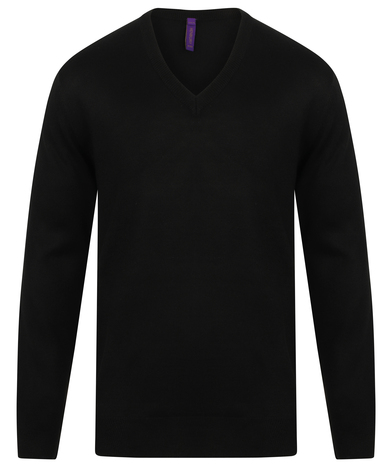 Cashmere Touch Acrylic V-neck Jumper In Black