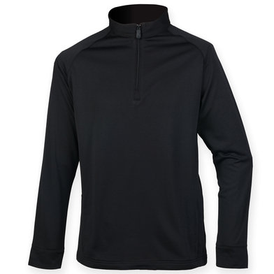 _ Zip Top With Wicking Finish In Black