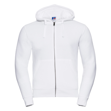 Authentic Zipped Hooded Sweat In White