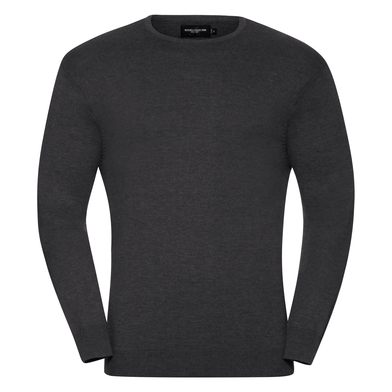 Crew Neck Knitted Pullover In Charcoal Marl