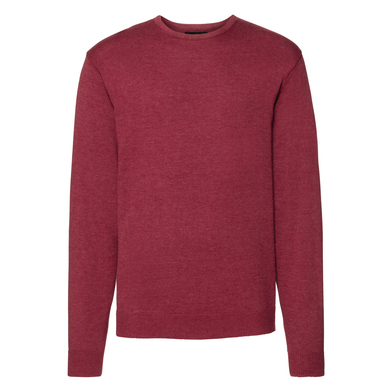 Crew Neck Knitted Pullover In Cranberry Marl