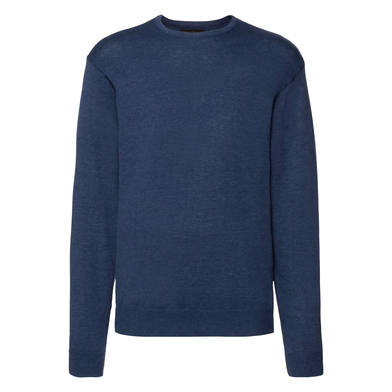 Crew Neck Knitted Pullover In Denim Marl