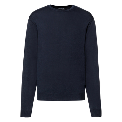 Crew Neck Knitted Pullover In French Navy