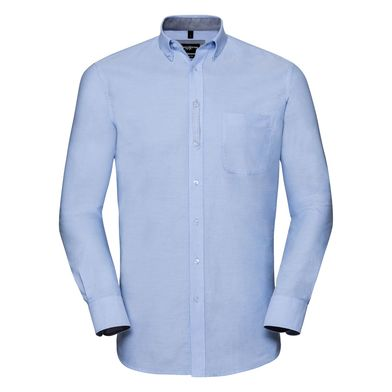 Russell Collection - Long Sleeve Tailored Washed Oxford Shirt