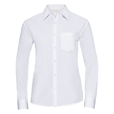 Russell Collection - Women's Long Sleeve Polycotton Easycare Poplin Shirt