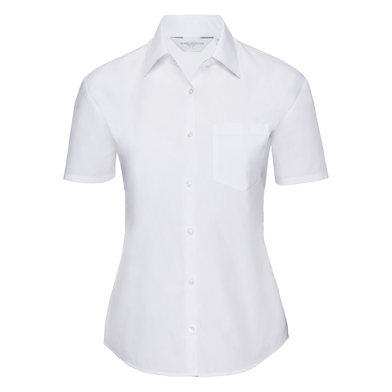 Russell Collection - Women's Short Sleeve Polycotton Easycare Poplin Shirt