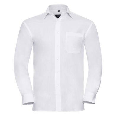 Russell Collection - Long Sleeve Pure Cotton Easycare Poplin Shirt