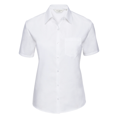 Russell Collection - Women's Short Sleeve Pure Cotton Easycare Poplin Shirt