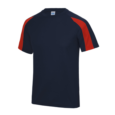 Contrast Cool T In French Navy/Fire Red