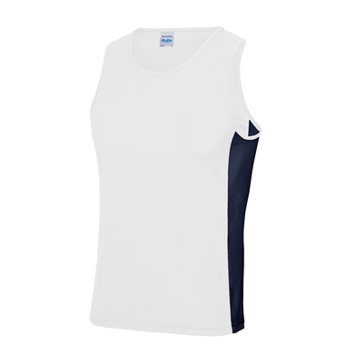 Cool Contrast Vest In Arctic White/French Navy