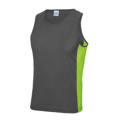 Cool Contrast Vest In Charcoal/Lime Green