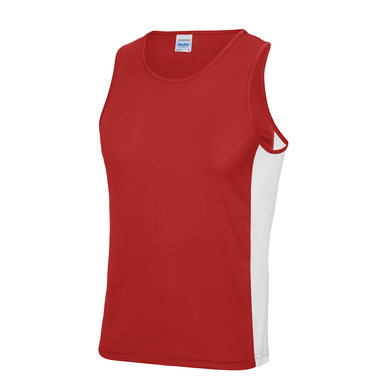 Cool Contrast Vest In Fire Red/Arctic White