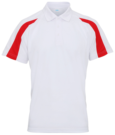 Contrast Cool Polo In Arctic White/Fire Red