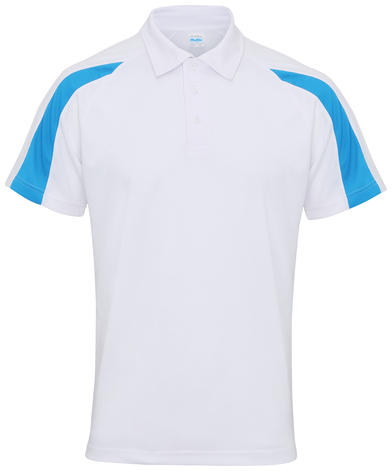 Contrast Cool Polo In Arctic White/Sapphire Blue