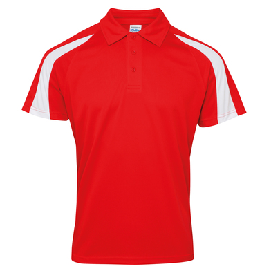 Contrast Cool Polo In Fire Red/Arctic White