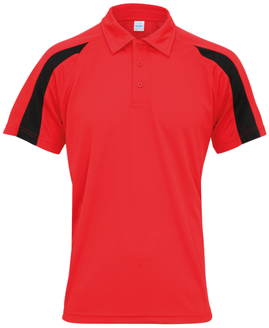Contrast Cool Polo In Fire Red/Jet Black