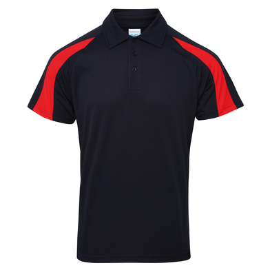 Contrast Cool Polo In French Navy/Fire Red