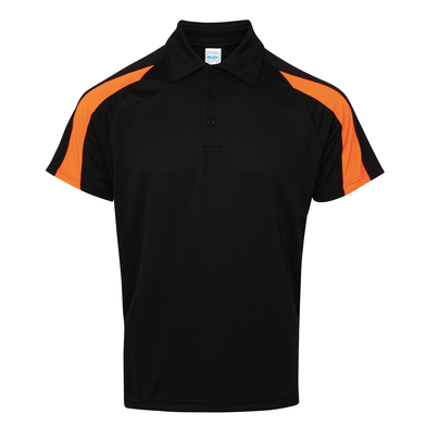 Contrast Cool Polo In Jet Black/Electric Orange