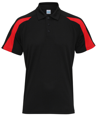 Contrast Cool Polo In Jet Black/Fire Red