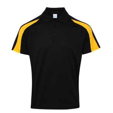 Contrast Cool Polo In Jet Black/Gold