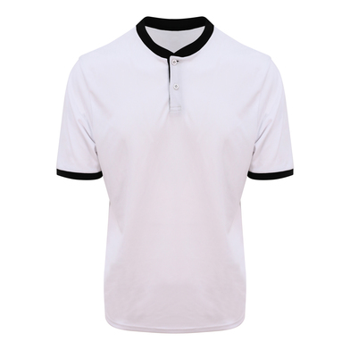 Cool Stand Collar Sports Polo In Arctic White/Jet Black