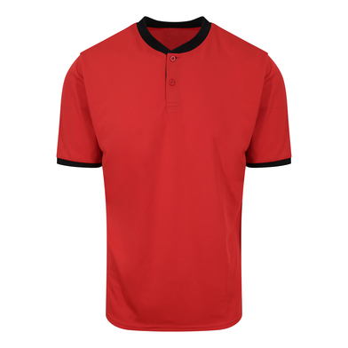 Cool Stand Collar Sports Polo In Fire Red/Jet Black