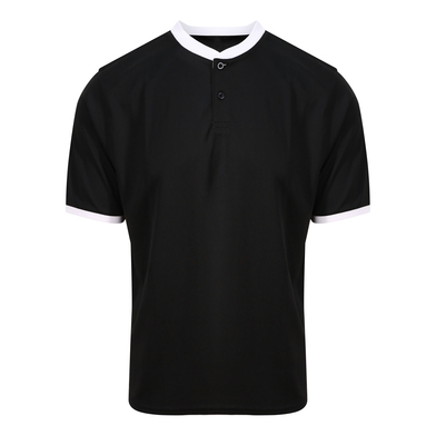 Cool Stand Collar Sports Polo In Jet Black/Arctic White