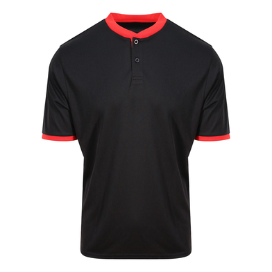 Cool Stand Collar Sports Polo In Jet Black/Fire Red
