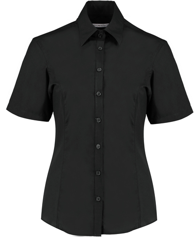 Business Blouse Short-sleeved (tailored Fit) In Black