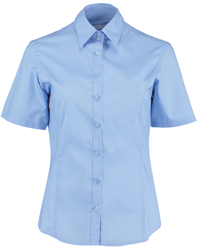 Business Blouse Short-sleeved (tailored Fit) In Light Blue