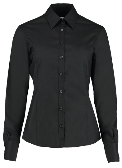 Business Blouse Long-sleeved (tailored Fit) In Black