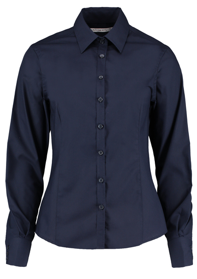 Business Blouse Long-sleeved (tailored Fit) In Dark Navy