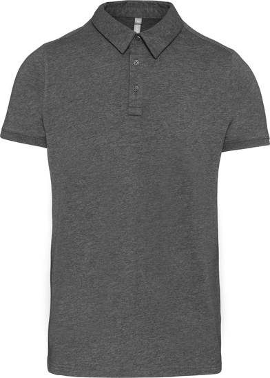 Jersey Knit Polo Shirt In Grey Heather