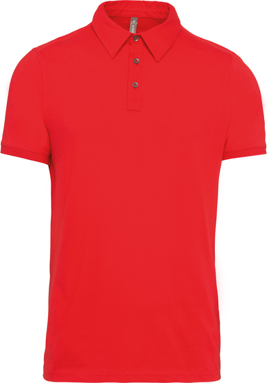 Jersey Knit Polo Shirt In Red