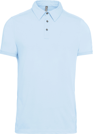 Jersey Knit Polo Shirt In Sky Blue