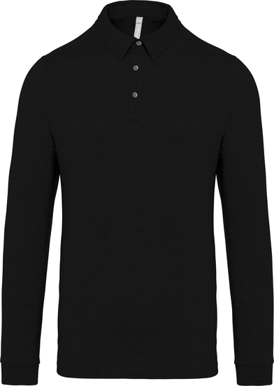 Jersey Knit Long Sleeve Polo Shirt In Black