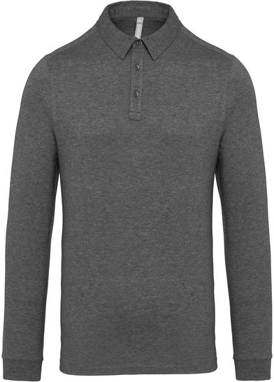 Jersey Knit Long Sleeve Polo Shirt In Grey Heather
