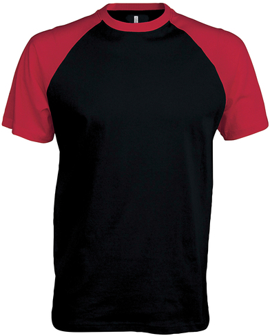 Baseball Contrast T-shirt In Black/Red